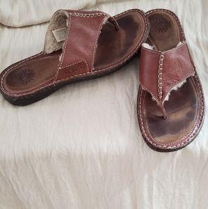 UGG Layback Thong Suede Sherling Sandals 10